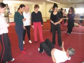 Sapir teaching a women's self-defense course